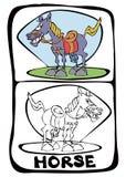 sida för bokfärgläggninghäst royaltyfri illustrationer