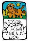sida för bokfärgläggninghund vektor illustrationer