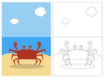 sida för bokfärgläggningkrabba Arkivfoto
