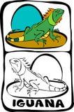 sida för bokfärgläggningleguan stock illustrationer