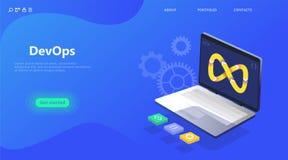 Sida för DevOps affärslandning royaltyfri illustrationer
