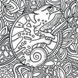 Sida för färgbok med stiliserat kameleontsammanträde på en trädfilial Den drog handen skissar, klottrar, zentangle Arkivfoton