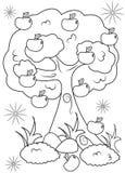Sida för färgläggning för Apple träd Royaltyfri Bild
