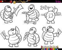 Sida för färgläggning för tecknad film för skolasköldpaddauppsättning Royaltyfria Bilder