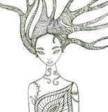 Sida för färgläggning för fantasiskogkvinna Royaltyfri Foto