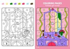 Sida för färgläggning för modeflickavärld för ungar, makeup vektor illustrationer