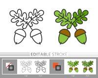 Sida för färgläggning för symbol för redigerbar slaglängd för ekollon linjär stock illustrationer