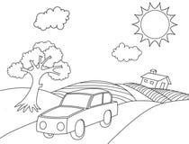 Sida för färgläggning för tecknad film för landskapfärgläggningbok royaltyfri fotografi