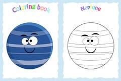Sida för färgläggningbok för förskole- barn med färgrik Neptun royaltyfri illustrationer