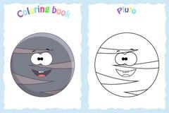 Sida för färgläggningbok för förskole- barn med färgrika pluto pl stock illustrationer