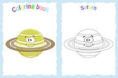 Sida för färgläggningbok för förskole- barn med färgrika saturn vektor illustrationer