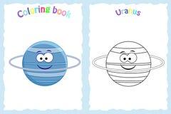 Sida för färgläggningbok för förskole- barn med färgrika Uranus vektor illustrationer