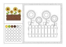 Sida för färgläggningbok med den kulöra mallen, den dekorativa ramen och färgprovkarta - svartvit konturbild för vektor - yello royaltyfri illustrationer
