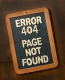 Sida för fel som 404 inte finnas på svart tavla Royaltyfri Fotografi