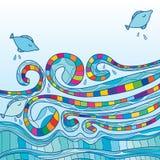 Sida för fiskvirveldeco vektor illustrationer