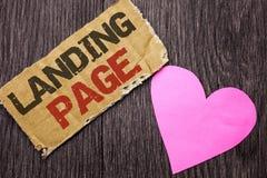 Sida för handskrifttextlandning Menande Website för begrepp som tas fram, genom att klicka en sammanlänkning på en annan webbsida Arkivfoton