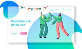 Sida för helgonPatrick Day Joyful Irish Party landning stock illustrationer