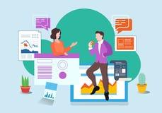 Sida för illustration för vektor för teamwork för affärskontor vektor illustrationer
