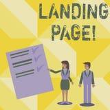 Sida för landning för handskrifttexthandstil BegreppsbetydelseWebsite som tas fram, genom att klicka en sammanlänkning på en anna vektor illustrationer