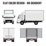 Sida för liten lastbil för vektor främre Palett med papp lyft av kranen plan färg Royaltyfri Bild