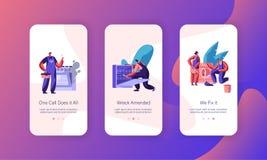 Sida för RepairmanFixing Problem Mobile App Onboard skärmuppsättning Maskin för arbetarreparationstvagning, kökugn handyman stock illustrationer