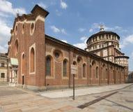 Sida för Santa Maria dellegrazie och kupol, milano Fotografering för Bildbyråer