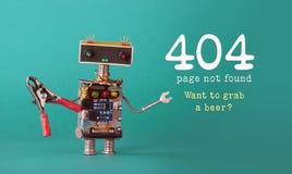 Sida för sida för fel 404 funnen inte Vänlig robotunderhållsarbetare med röd plattång, färgrika head röda blåa ljusa kulor Arkivbild