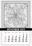 Sida för snöflingafärgläggningbok, kalender November 2019 stock illustrationer