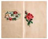 Sida för tappningurklippsbokpapper med bilder royaltyfri bild