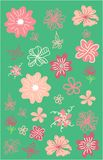 Sida-, flovers-, buske- och h?ckupps?ttning tecknad blom- hand f?r element stock illustrationer