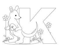 sida för färgläggning K för alfabet djur Arkivbild