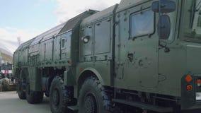 Sida och främre sikt av taktisk iskander-m för system för ballistisk missil stock video