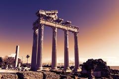 Sida tempel av Apollo, Turkiet Royaltyfri Bild