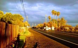 Sida Yuba City, CA för HWY 113 ut Royaltyfri Fotografi