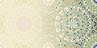 Sidadesignmall med den Marocko prydnaden royaltyfri illustrationer