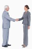 Sidan beskådar av le skaka för businesspartner räcker Royaltyfri Bild