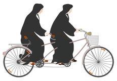 Nunnor och tandemcykel. stock illustrationer