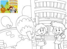 Sidan med övningar för ungar - färgläggningbok - illustration för barnen stock illustrationer