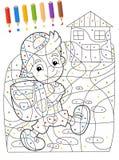 Sidan med övningar för ungar - färgläggningbok - illustration för barnen Fotografering för Bildbyråer