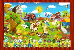Sidan med övningar för ungar - lantgård - illustration för barnen Arkivbild