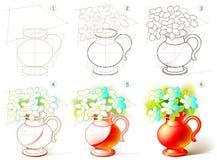 Sidan visar hur man lär stegvis att måla en härlig vas med blommor vektor illustrationer