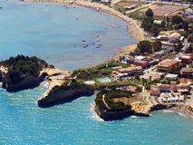Sidari, Corfu, aerial view. Sidari, Corfu, Greece, aerial view of beach and cliffs stock photography