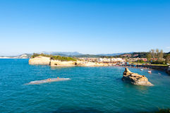 Sidary resort with famous coves of the Canal D'Amou. Corfu, Greece. Royalty Free Stock Photo