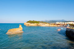Sidary sandy beach with famous coves of the Canal D'Amou. Corfu, Greece. Royalty Free Stock Photos