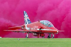 Siddeley πωλητών της Royal Air Force RAF γεράκι Τ 1A XX219 της ομάδας επίδειξης της Royal Air Force Aerobatic τα κόκκινα βέλη Στοκ φωτογραφίες με δικαίωμα ελεύθερης χρήσης