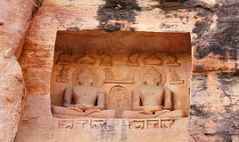 Siddhachal Jain Temple  Monoliths and Carvings at Gwalior, Madhy. On the way up to the Gwalior fort the road climbs through a wooded gorge called the Urwahi Stock Photo