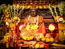 Siddhartha Gautama (Buddha) Golden Sculpture. At temple stock photo