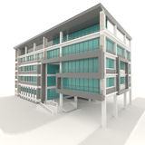 Side of 3D condominium exterior design in white background Stock Photos