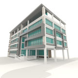 Side of 3D condominium exterior design in white background Stock Photography