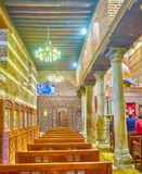 The side aisle of St Barbara Church in Cairo, Egypt Royalty Free Stock Image